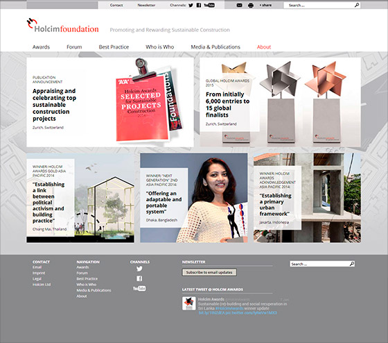 Website Holcim Foundation - Screendesign, Art Direction, Projektmanagement by graphilox