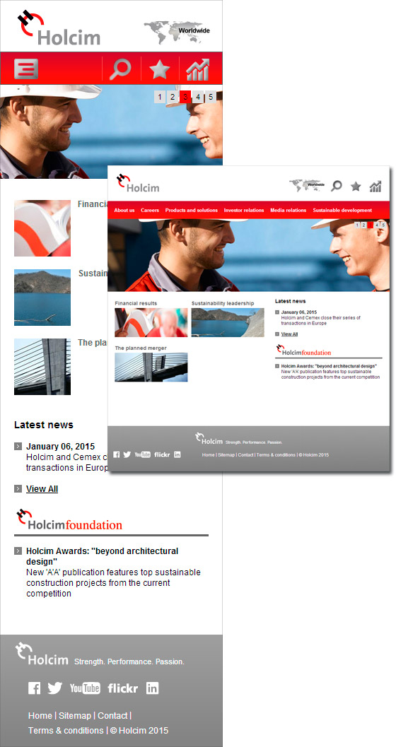 Holcim Website Responsive Design für Tablets und Smartphones - Screendesign, Art Direction, Konzept by graphilox
